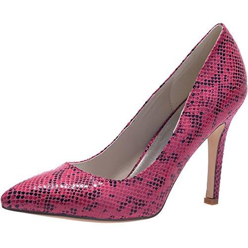 Loslandifen Womens Pointu Plate-forme Orteils Talons Haut Serpent Grain Glisser Sur Les Chaussures De Mariage Nuptiale Rose