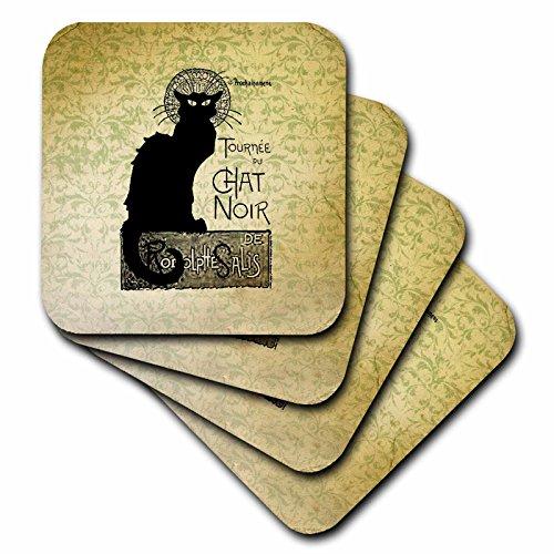 3dRose cst _ 99373_ 3Vintage Chat Noir gato negro francés arte animales azulejos de cerámica posavasos, juego de 4