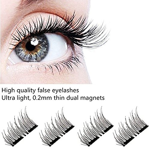 390a6373e75 Magnetic Eyelashes Dual Magnetic False Eyelashes 3D Reusable Fake Magnet  Eyelashes, No Glue 0.2MM Ultra Thin Fake lashes for Ultra Soft Natural Look  ...