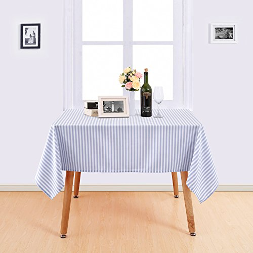 (Deconovo Stripe Pattern Table Cloth Water Resistant and Spill Resistant Table Cover Square Nordic Style Tablecloth Recycled Table Cover for Picnic 54x54 Inch White and Light)