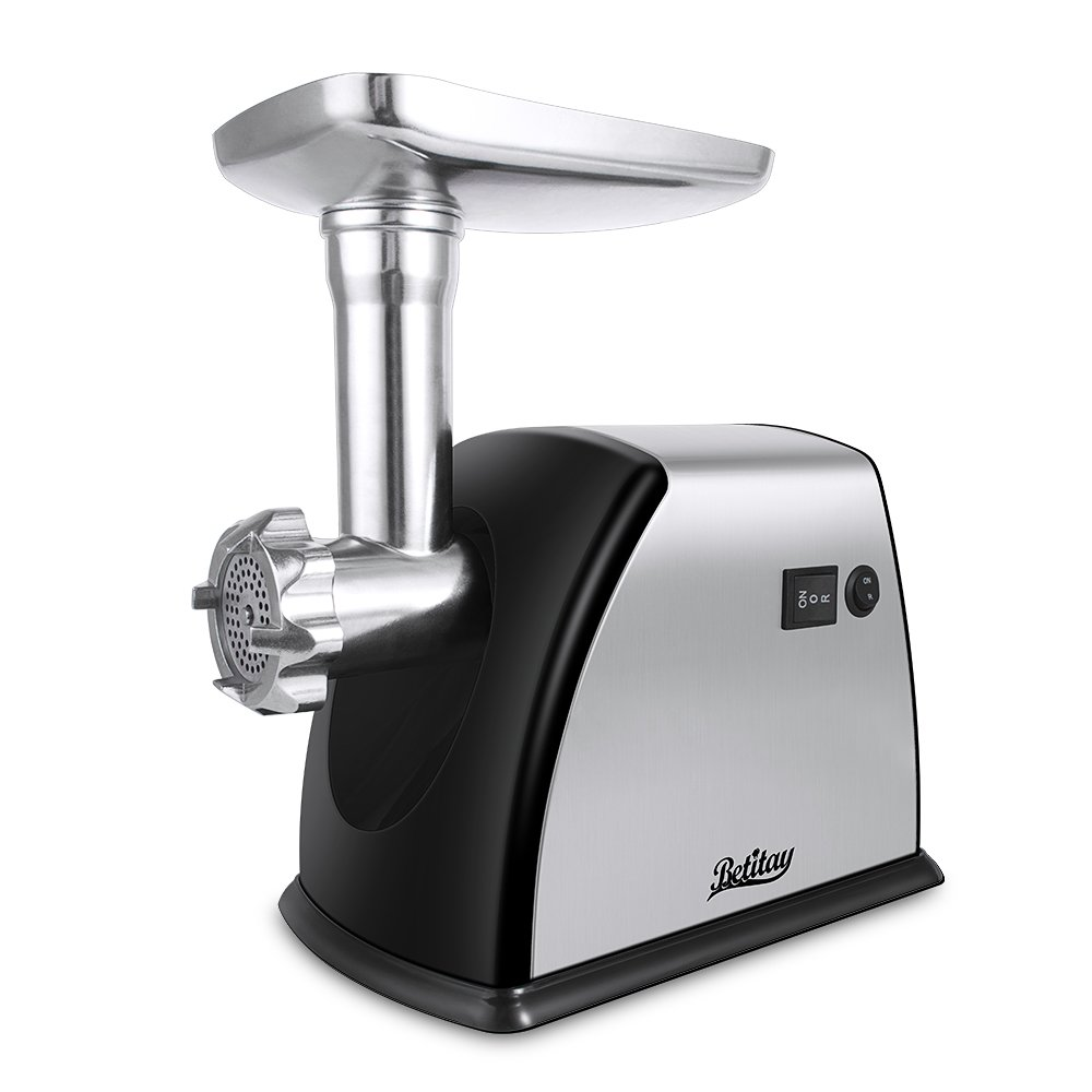 Betitay Electric Meat Grinder, Stainless Steel Meat Mincer Sausage Stuffer, Heavy Duty Food Processing Machine with 3 Grinding Plates,Sausage Making Kit,Blade & Kubbe Attachment,1800 Watts Max.