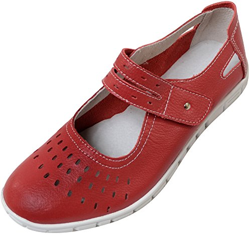 Ladies / Womens Leather EEE Wide Fitting Summer / Holiday / Casual Shoes / Sandals Strawberry DZ0ScifRKs