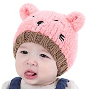 Baby Hats,FUNIC Toddler Kids Baby Boys Girls Knitted Hats Children's Lovely Soft Hat (Pink)