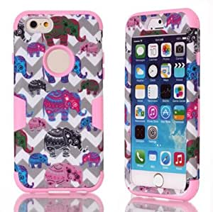 Okai Plastic Hard Cover + Silicone Case Shockproof High Impact Phone Protection Case for IPhone 6 Plus(5.5)-Pink Wave Elephant