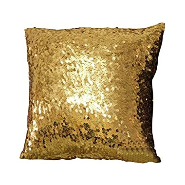 Froomer Glitter Small Sequins Silk Throw Cushion Cover,Gold