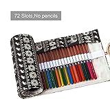 ASYOU 72 Colored Pencils Roll up Pouch Canvas Pen Bag for Watercolor Pens,Crayon, Color Gel Pen (Black)