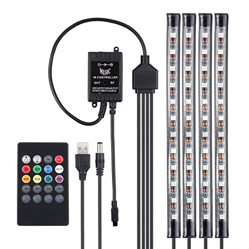 Car LED Strip Lights,Unpopular 4pcs 48 LED USB Car Interior Music Multicolor Rope Lights Atmosphere Decorative SMD Neon Lamp Lighting with Sound Active Function,Wireless Remote Control(USB Port) by UNPOPULAR (Image #2)
