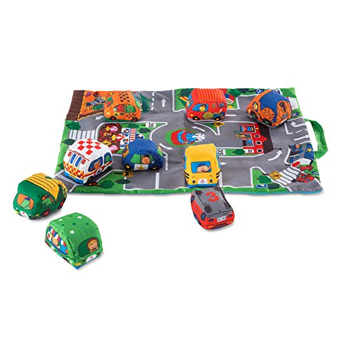 Melissa & Doug Take-Along Town Play Mat  With 9 Soft Vehicle