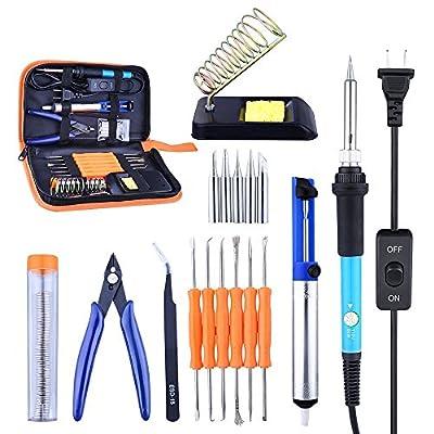 Ictology Soldering Iron Kit Set, Adjustable Temperature Welding Iron 60W-100V, 16-in-1 Soldering Iron Kit with 5PCS Soldering Tips+Desoldering Pump+Soldering Iron Stand+ Tweezers