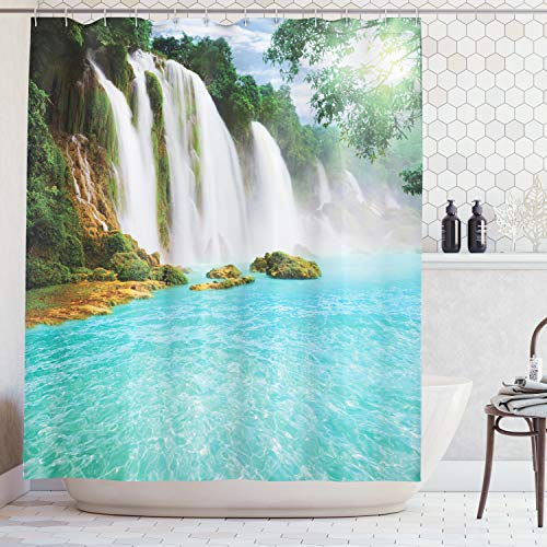 Ambesonne Waterfall Decor Collection, Ban Gioc- Detian Waterfall Forest Tropical Waterscape Clear Pool Picture, Polyester Fabric Bathroom Shower Curtain Set with Hooks, Turquoise Green Blue