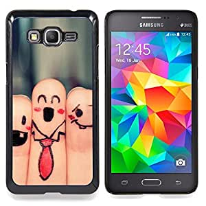 "Qstar Arte & diseño plástico duro Fundas Cover Cubre Hard Case Cover para Samsung Galaxy Grand Prime G530H / DS (Dedos Caras Arte sonriente Dibujo Lazo divertido"")"