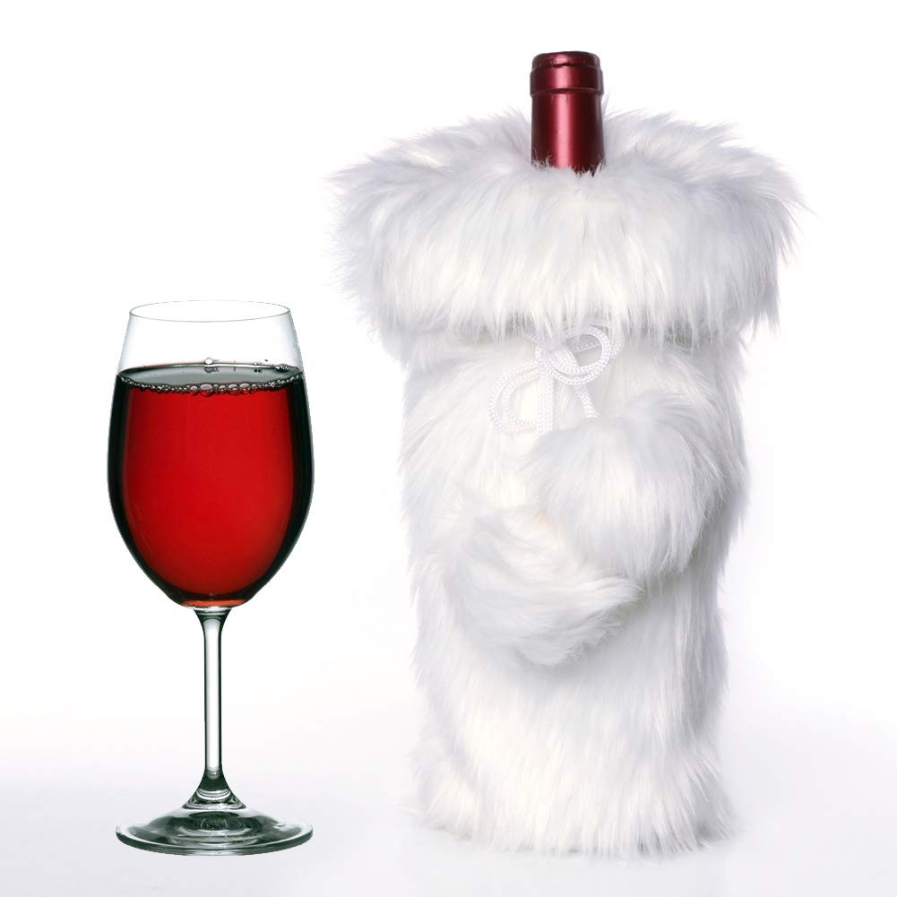 Aparty4u Snowy White Faux Fur Christmas Wine Bottle Covers, Luxury Wine Bottle Cover Bag for Christmas Table Dinner Decoration Home Party Decors Xmas Holiday Gifts