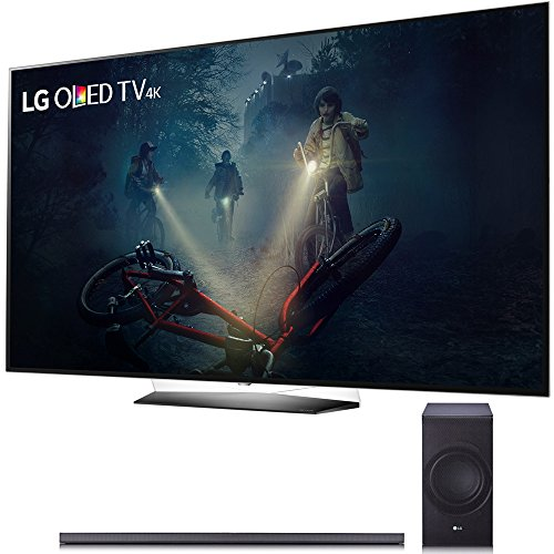 LG B7A Series 65″ OLED 4K HDR Smart TV 2017 Model (OLED65B7A) with SJ8 300W 4.1-Channel Hi-Fi Bluetooth Audio Sound Bar with Wireless Subwoofer