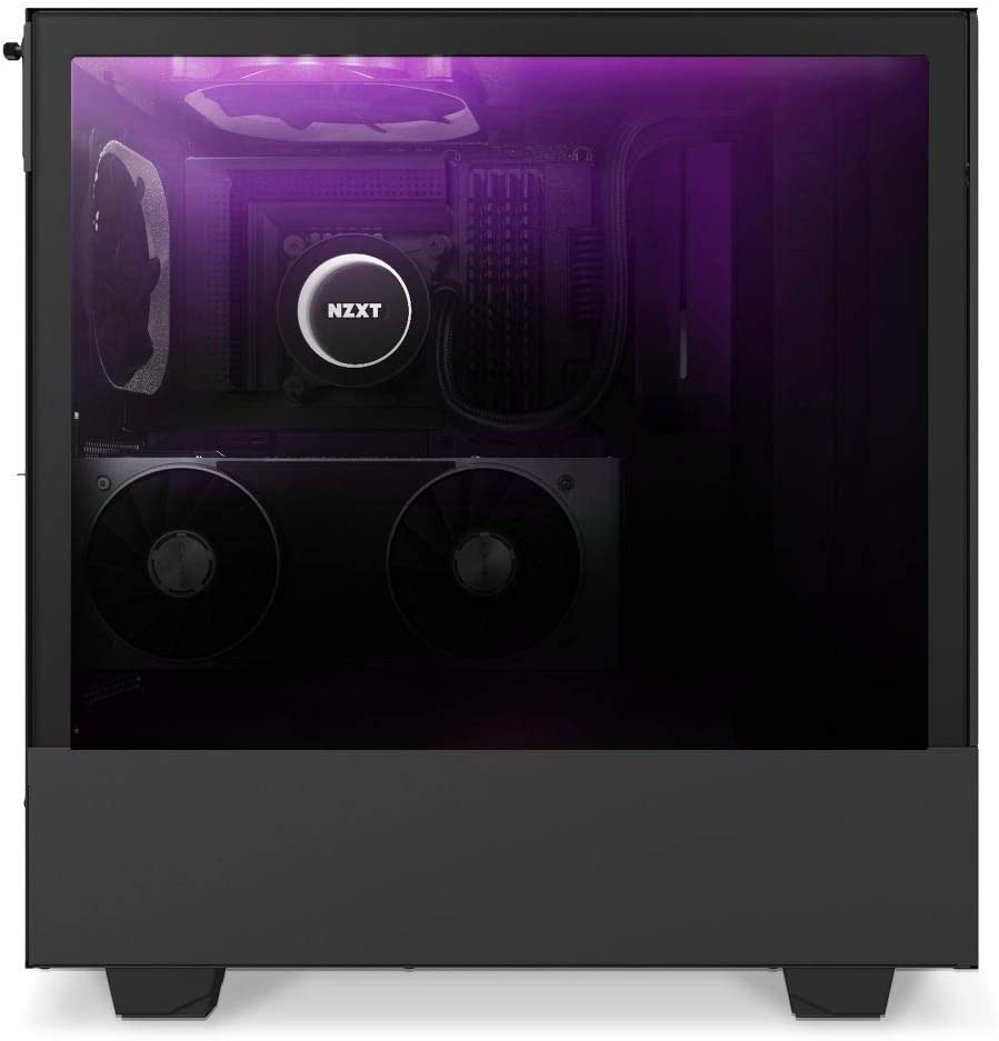 Front I//O USB Type-C Port Tempered Glass Side Panel Integrated RGB Lighting Vertical GPU Mount Compact ATX Mid-Tower PC Gaming Case Black NZXT H510i CA-H510i-B1