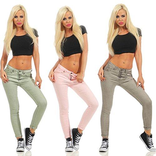 40 Fashion4Young turquoise Turquoise Jeans M Kaki Femme wwqXvxUO