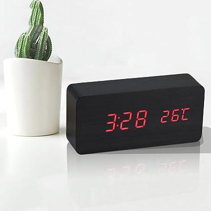 Alarma de madera Reloj digital Alarma Calendario Termómetro Control de sonido Fecha