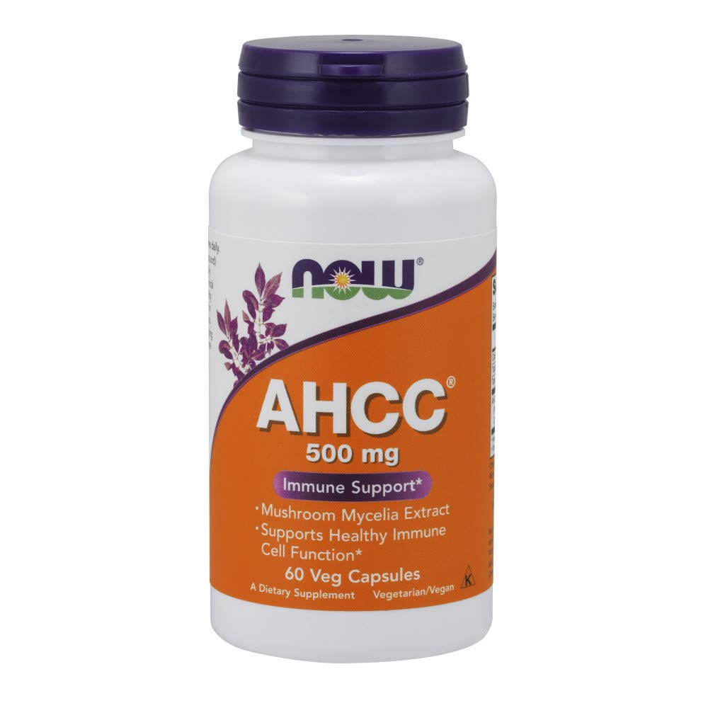 NOW Supplements, AHCC Active Hexose Correlated Compound , Mushroom Mycelia Extract 500 mg, 60 Veg Capsules