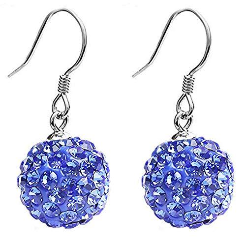 leelly Solid Silver S925 Disco Ball Crystals Earrings Dangle Hook Earrings for Women Girls (Blue)