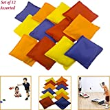 """Adorox Set of 12 Assorted 5"""" Nylon Bean Bags Cornhole Primary Colors Carnival Game"""