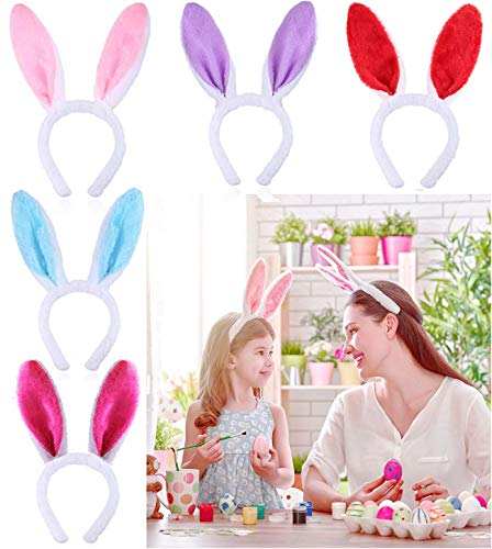 (Plush Bunny Ears Headband Cute Rabbit Ears Hairbands for Easter Party Favor Decoration Headdress Costume Cosplay Accessory (5 Pack, Red, Pink, Blue, Purple, Rose Red))