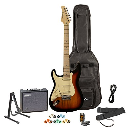 - Sawtooth ST-ES-LH-SBVC-KIT-3 Left Handed Electric Guitar, Sunburst with White Pickguard, Lesson, Gig Bag, Stand, Cable, Picks, Tuner, Strap and Amplifier