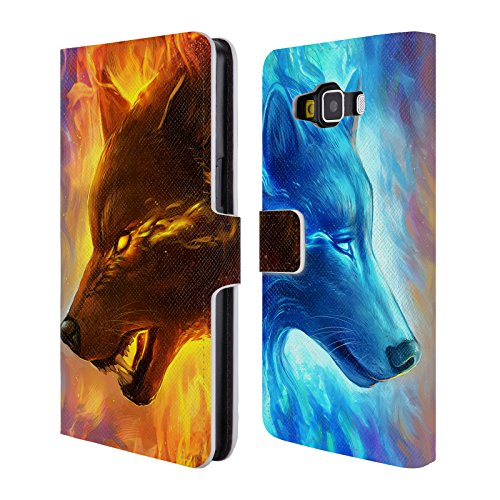 "Price comparison product image Official Jonas ""JoJoesArt"" Jödicke Fire And Ice Wildlife Leather Book Wallet Case Cover For Samsung Galaxy A5"