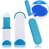 #2: WUXIAN Pet Fur and Lint Remover Pet Hair Remover with Self-Cleaning Base Double-Sided Brush Removing Dog Cat Hair From Clothing, Furniture--Blue/White