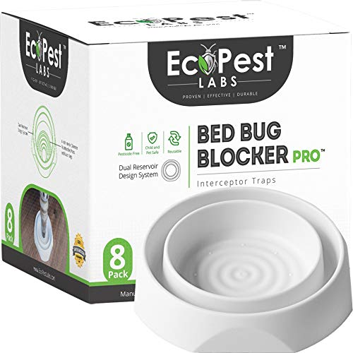 Bed Bug Interceptors - 8 Pack | Bed Bug Blocker (Pro) Interceptor Traps (White) | Eco Friendly Insect Trap for Bed Legs | No Chemicals or Pesticides | Killer, Detector, and Trap for Bed Bugs