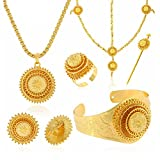 24K Gold Plated Hair Accessories Ethiopian Eritrean Jewelry Sets Wedding Jewelry Sets Women Gift