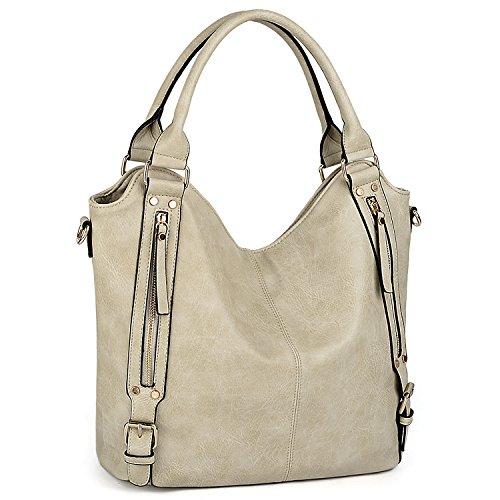 UTO Women Handbags Hobo Shoulder Bags Tote PU Leather Handbags Fashion Large Capacity Bags (Beige)