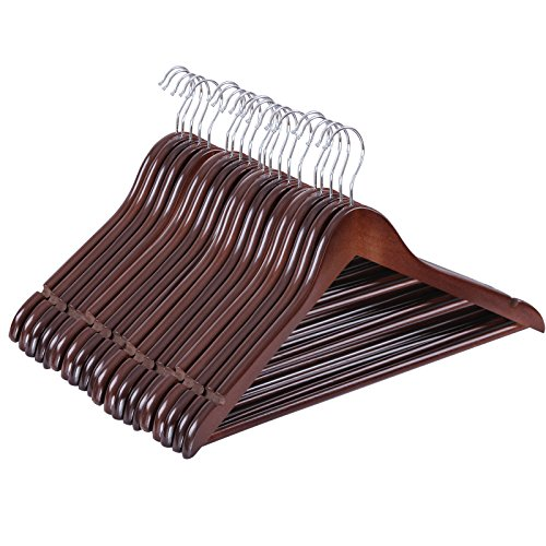 SONGMICS Hangers, 20 Pack - Selected Solid Maple Wooden Hangers with Smooth Finish and Human Shoulder Design, Brown UCRW05K-20 (Brown Tie Hanger)