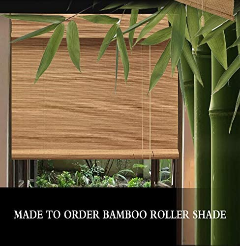 PASSENGER PIGEON Outdoor Roller Shades, Bamboo Mildew Proof UV Protection Light Filtering Roll Up Window Blinds with Valance, 78 W x 96 L, Dark Brown