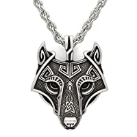 TTKP Norse Vikings Pendant Necklace Norse Wolf Head Necklace Original Animal Jewelry Wolf Head hange