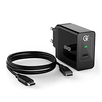 ANKER PowerPort+ Cargador USB, 24 W, USB C, cargador rápido con Quick Charge 3.0 para Samsung Galaxy S8/S7/S6 Edge, MacBook 2016, Nexus 5 x/6P/Sony ...