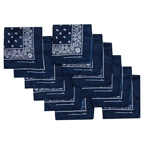 (Camel Brand Bandana 12 Pack 21x21 100% Polyester (Navy))