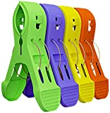 Attmu 12 Pack Beach Towel Clips Chair Clips Towel Holder in Fun Bright Colors - Stop the Towels from Blowing Away