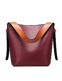 Compia Genuine Leather Handbag Hit Color Bucket Bag Casual Fashion Cow Large Package Shopping Bag Women Shoulder Bag