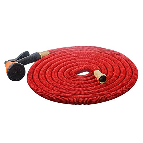 MALLCROWN Expanding Hose,Strongest Expandable Garden Hose Double Latex Core Solid Brass Connector with 8 Pattern Spray Nozzle (50ft, Red)