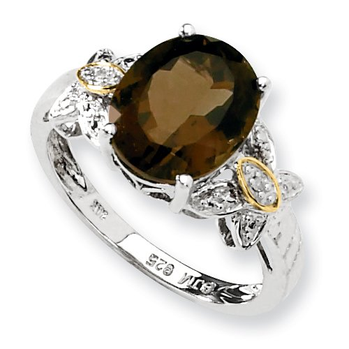 Sterling Silver & 14k Gold Smokey Quartz and Diamond Ring - Size 8