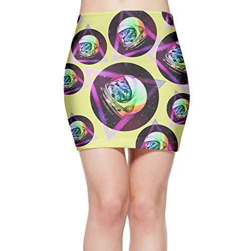 SKIRTS WWE Astronaut Cat In Space Womens Slim Fit High Waisted Mini Short Skirt by SKIRTS WWE