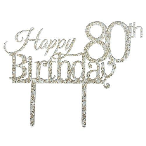 Glitter Silver Acrylic Happy 80th Birthday Cake Topper, 80 B