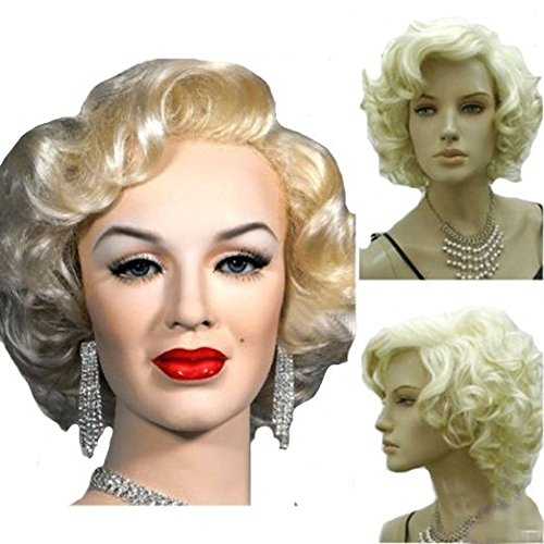 MELADY®(Free Cap) Fashion Sexy Marilyn Style Costume Blonde Curly Synthetic Women Girls Lady Cosplay (Sexy Child Costumes)