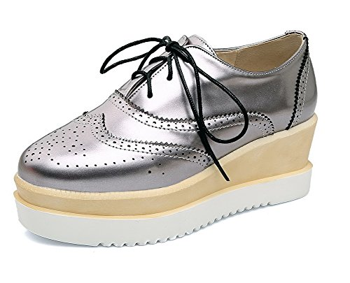 Odomolor Women's PU Lace-up Square-Toe Kitten-Heels Solid Pumps-Shoes, Silver, 35