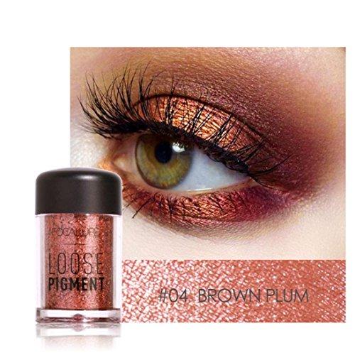 Eyeshadow, Hometom 12 Colors Eyeshadow Makeup Pearl Metallic Eye Shadow Palette (D) (Bronze Eye Concealer)