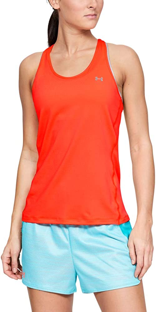 Large Under Armour Womens UA Heatgear Racer Tight-Fit Vest with Soft Feel Sleek Sleeveless T-Shirt with Graphic Design Orange