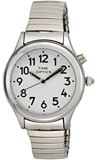 TimeOptics Womens Talking Silver-Tone Day Date Alarm Expansion Bracelet Watch