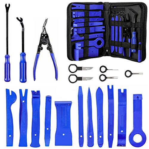 - MATCC Trim Removal Tool Set 19 pcs Nylon Car Panel Removal Tools Kit for Car Door Panel Dash Audio Radio Removal Installer and Repair Pry Tools Kits with Fastener Remover Storage Bag