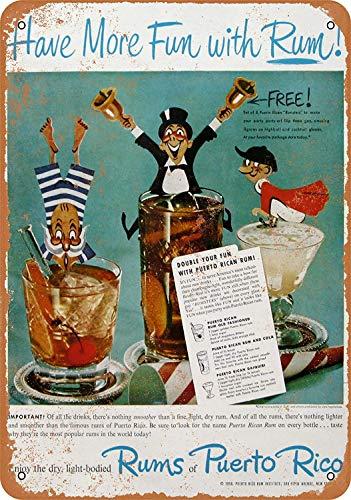 Iliogine 1950 Puerto Rican Rum Room Sign Wall Art Decor Aluminum Tin Sign Vintage 8 x 12 ()