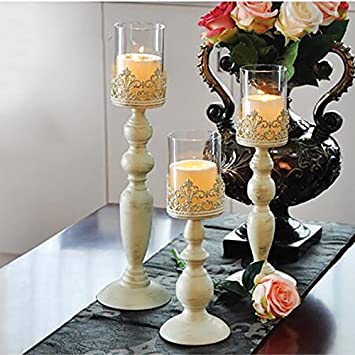 Color : Metallic European Candle Holder Decoration Romantic Candlelight Dinner Prop Decoration,Candlestick Retro Home Candlestick