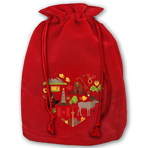 I Love Canada Red Christmas Drawstring Bags / Santa's Trouser Bag/ Christmas Gift